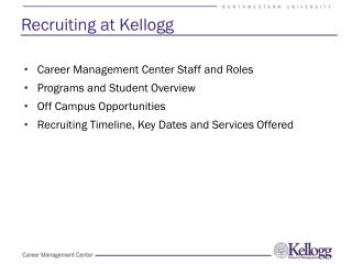Recruiting at Kellogg