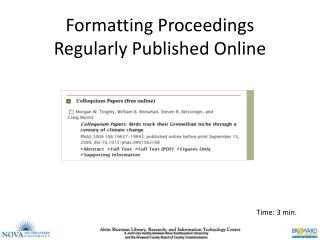 Formatting Proceedings Regularly Published Online