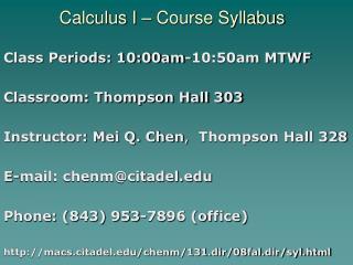Calculus I – Course Syllabus