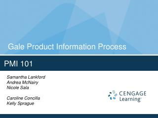 Gale Product Information Process
