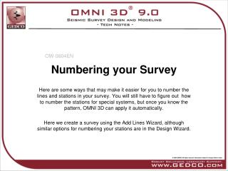 Numbering your Survey