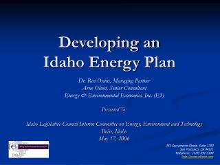 Developing an  Idaho Energy Plan