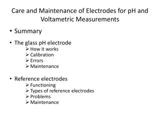 Care and Maintenance of Electrodes for pH and Voltametric Measurements