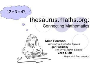thesaurus.maths: Connecting Mathematics
