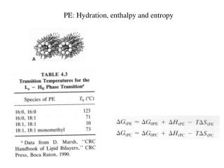 PE: Hydration, enthalpy and entropy