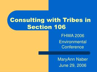 FHWA 2006  Environmental Conference MaryAnn Naber June 29, 2006