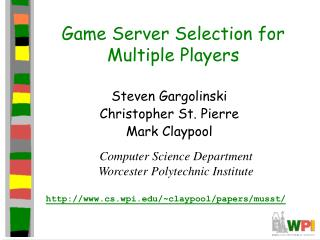 Game Server Selection for Multiple Players