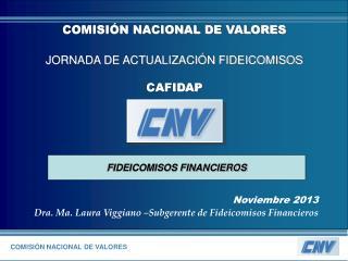 Noviembre 2013 Dra. Ma. Laura Viggiano –Subgerente de Fideicomisos Financieros