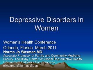 Depressive Disorders in Women