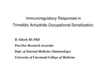 Immunoregulatory Responses in  Trimellitic Anhydride Occupational Sensitization.