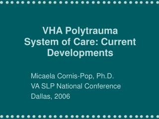 VHA Polytrauma  System of Care: Current Developments