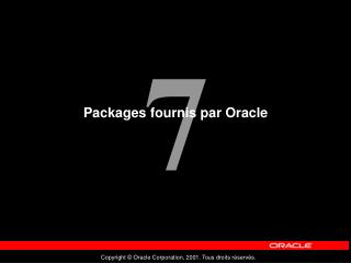 Packages fournis par Oracle