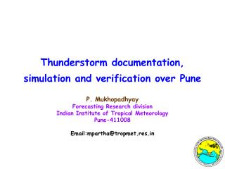Thunderstorm documentation, simulation and verification over Pune