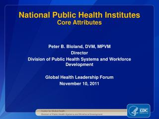National Public Health Institutes Core Attributes