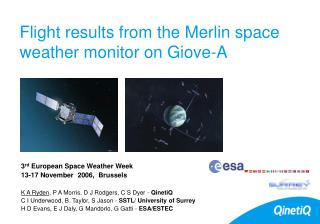 Flight results from the Merlin space weather monitor on Giove-A