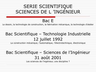 SERIE SCIENTIFIQUE SCIENCES DE L 'INGÉNIEUR