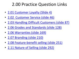 2.00 Practice Question Links