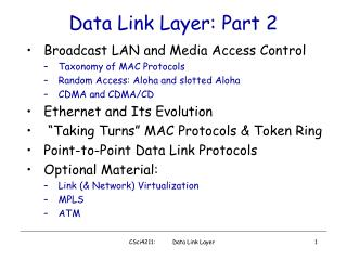 Data Link Layer: Part 2
