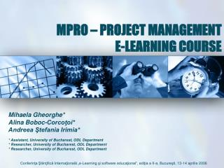 MPRO – PROJECT MANAGEMENT E-LEARNING COURSE