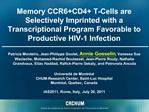 Memory CCR6CD4 T-Cells are Selectively Imprinted with a Transcriptional Program Favorable to Productive HIV-1 Infection