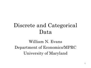 Discrete and Categorical Data