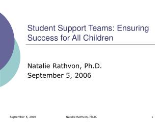 Student Support Teams: Ensuring Success for All Children
