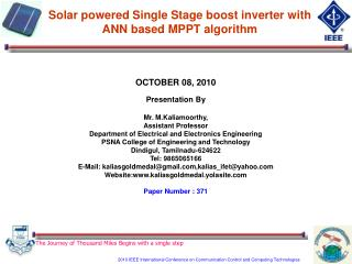 Solar powered Single Stage boost inverter with  ANN based MPPT algorithm