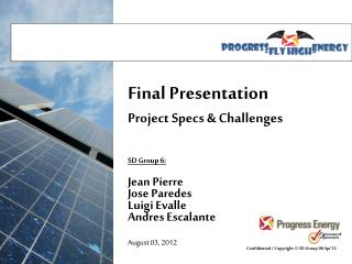 Final Presentation Project Specs & Challenges