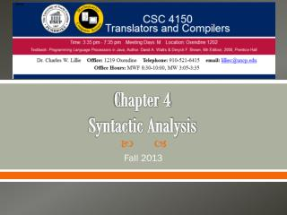 Chapter 4 Syntactic Analysis