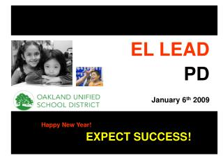 EL LEAD PD January 6 th  2009