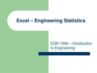 Excel – Engineering Statistics