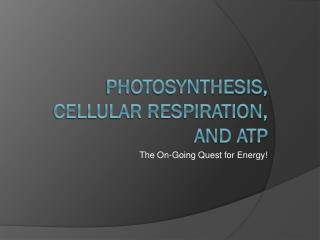 Photosynthesis,  Cellular Respiration, and ATP