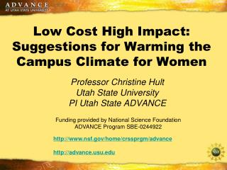 Low Cost High Impact: Suggestions for Warming the Campus Climate for Women
