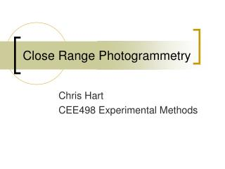 Close Range Photogrammetry