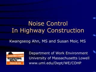 Noise Control In Highway Construction