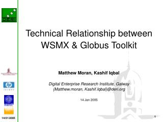 Technical Relationship between WSMX & Globus Toolkit Matthew Moran, Kashif Iqbal