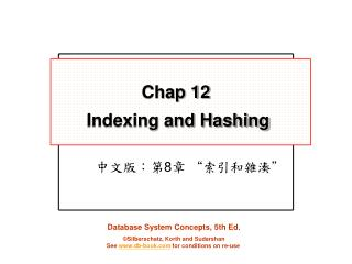 Chap 12 Indexing and Hashing