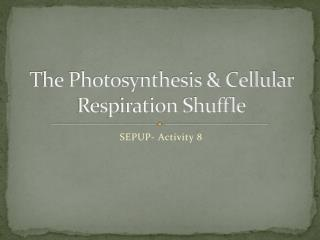 The Photosynthesis & Cellular Respiration Shuffle
