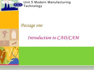 Unit 5 Modern Manufacturing Technology