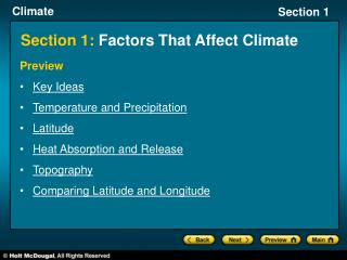 Section 1:  Factors That Affect Climate