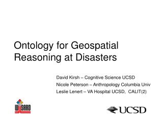Ontology for Geospatial Reasoning at Disasters