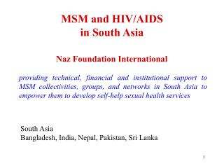 MSM and HIV/AIDS  in South Asia