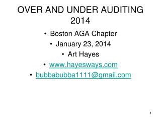 OVER AND UNDER AUDITING 2014