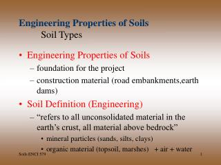 Engineering Properties of Soils Soil Types