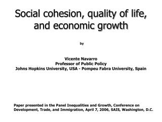 Social cohesion, quality of life, and economic growth