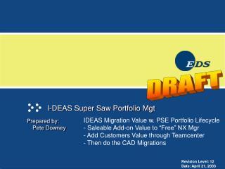 I-DEAS Super Saw Portfolio Mgt