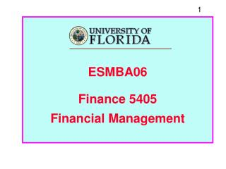 ESMBA06 Finance 5405 Financial Management