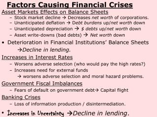 Factors Causing Financial Crises