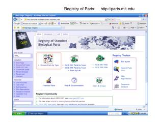 Registry of Parts: