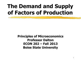 The Demand and Supply of Factors of Production